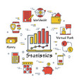 finance and banking statistics linear concept vector image