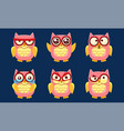 funny owls characters set cute pink birds with vector image vector image