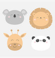 giraffe lion koala panda bearround face head icon vector image vector image