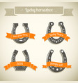gray horseshoe icon set vector image vector image