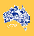 hand drawn stylized map australia travel of vector image