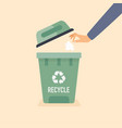 hand throwing used paper into trash recycling vector image