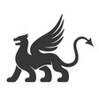 heraldic dragon silhouette logo vector image vector image
