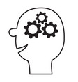 human head face icon black line silhouette gears vector image