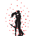 kissing couple and hearts vector image vector image