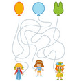 maze game for children girls and party balloons vector image vector image