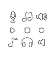 Music audio set icons vector image