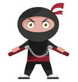 ninja with weapon on white background vector image vector image