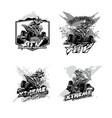 off-road atv quad bike set logos black and vector image vector image