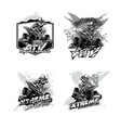 off-road atv quad bike set of logos black and vector image
