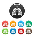 pneumonia lungs icons set color vector image vector image