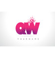 qw q w letter logo with pink purple color and vector image