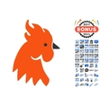 Red Rooster Icon With 2017 Year Bonus Pictograms vector image