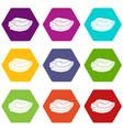 rice field icon set color hexahedron vector image vector image