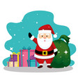 santa claus with bag and gifts to christmas vector image vector image