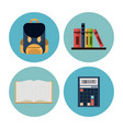school elements icons vector image vector image