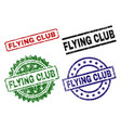 scratched textured flying club seal stamps vector image