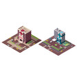 set isometric hospital and ambulance building vector image
