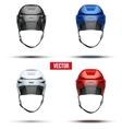 Set of Classic Ice Hockey Helmets with glass visor vector image
