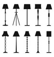 set of floor lamp silhouettes vector image vector image