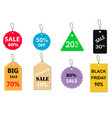 set of sale tag on white background special offer vector image