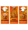 set of vertical orange banners for halloween vector image