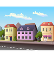 Small city street with road vector image vector image