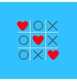 Tic tac toe game with cross and three red heart vector image vector image