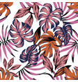 tropical leaves abstract color seamless vector image vector image