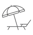 umbrella and sun lounge thin line icon travel vector image vector image