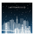 winter night in san francisco night city in flat vector image