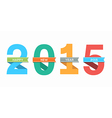 2015 Happy New Year number with ribbon vector image vector image