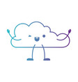 animated kawaii cloud icon flat in degraded blue vector image vector image
