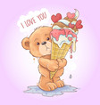 bear tedy holds a melting kone ice cream vector image vector image