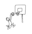 boy playing basketball outlined cartoon drawing vector image