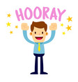 businessman lifting his arms up and shout hooray vector image vector image