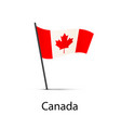 canada flag on pole infographic element on white vector image vector image