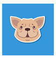 canine smiling face french bulldog drawn icon vector image
