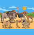 cartoon african wild animal characters group vector image