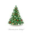 christmas tree decorated with different toys and vector image