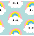 cloud rainbow seamless pattern funny face head vector image