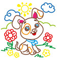coloring book of cute doggy vector image