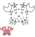 connect dots and draw a cute crab vector image vector image