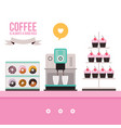 delicious sweet desserts donuts cupcakes coffee vector image vector image