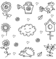 Doodle of flower bird set object vector image