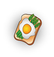 egg toast with green salad healthy breakfast fresh vector image vector image