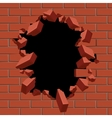 Exploding out hole in red brick wall vector image vector image