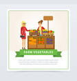 farm vegetables street shop with farmer and buyer vector image