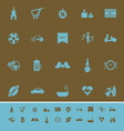 Friday and weekend color icons on brown background vector image vector image