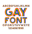 gay font rainbow letters lgbt abc for symbol of vector image vector image